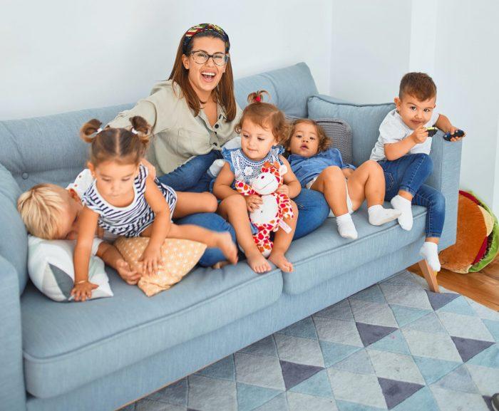Patchwork-Mutter mit Kindern